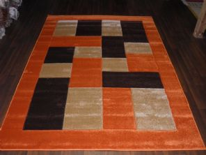 BLOCKS RANGE WOVEN RUG HAND CARVED APROX 6X4FT 120X170CM TERRA/BROWN GREAT RUGS